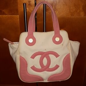 Authentic Chanel pink and white canvas bowling bag